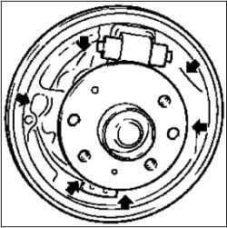 Снятие и установка тормозных колодок заднего колеса