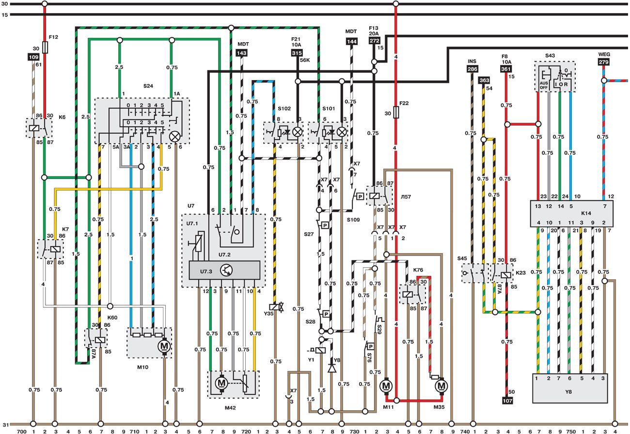 Электросхемы Опель Омега В. Цветные электросхемы автомобиля Опель Омега.  Все схемы в отличном качестве и с подробным...