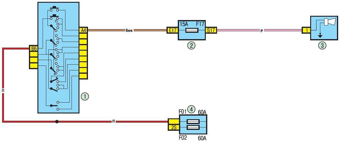 """""""Схема 15.  Звуковой сигнал: 1 - рычаг переключателя наружного освещения и указателей поворота с кнопкой включения..."""