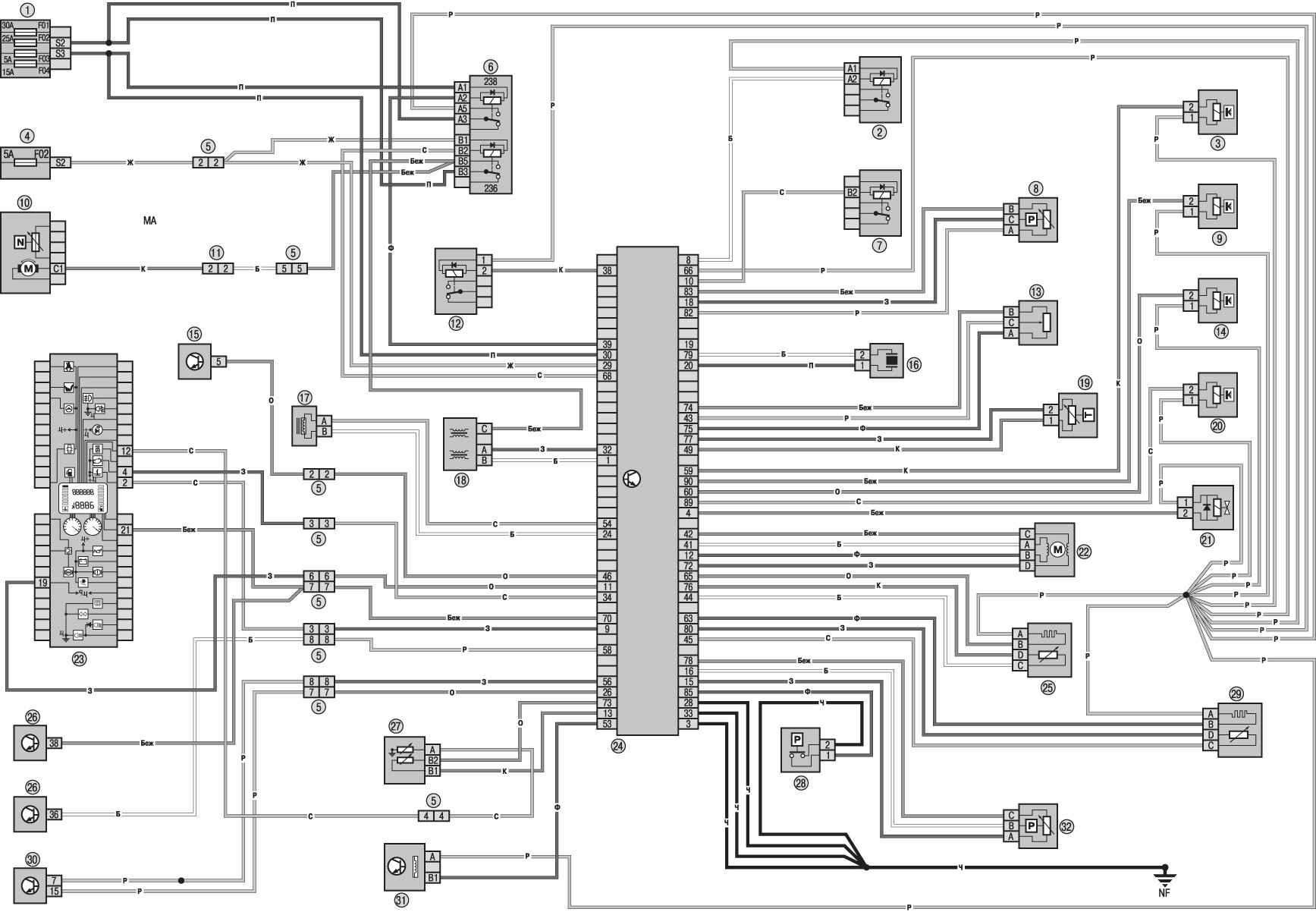 Схема электропроводки логана.