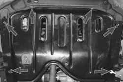 Снятие и установка брызговиков и защиты картера двигателя
