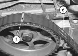 Замена и регулировка натяжения ремня, замена натяжного ролика привода азо-распределительного механизма