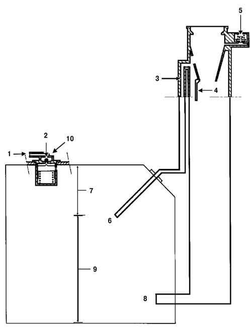 Схема работы топливной системы: 1 - патрубок для трубопровода, идущего к адсорберу; 2 - шариковый клапан для...