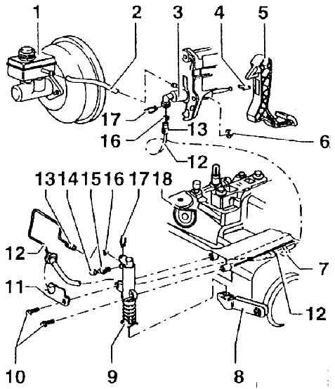 4 - крепление (заменять лишь тогда, когда удален главный цилиндр сцепления).  1 - бачок для охлаждающей жидкости.