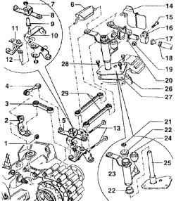 Сборочная схема - переключения привода переключения передач.  ОБЩИЕ СВЕДЕНИЯ.  2 - рычаг переключения передач (хорошо...