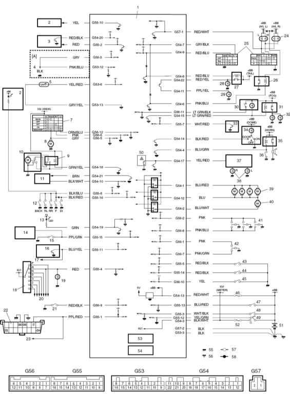 29 - реостат радиоприемника 30 - включатель передних противотуманных фар 31 - реле включения передних противотуманных...