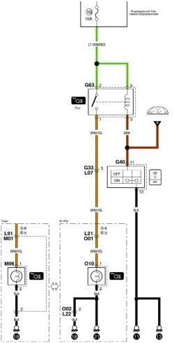 9.41. Схема заднего противотуманного фонаря (часть 1). 9.43.  Схема системы отопления и кондиционирования воздуха.