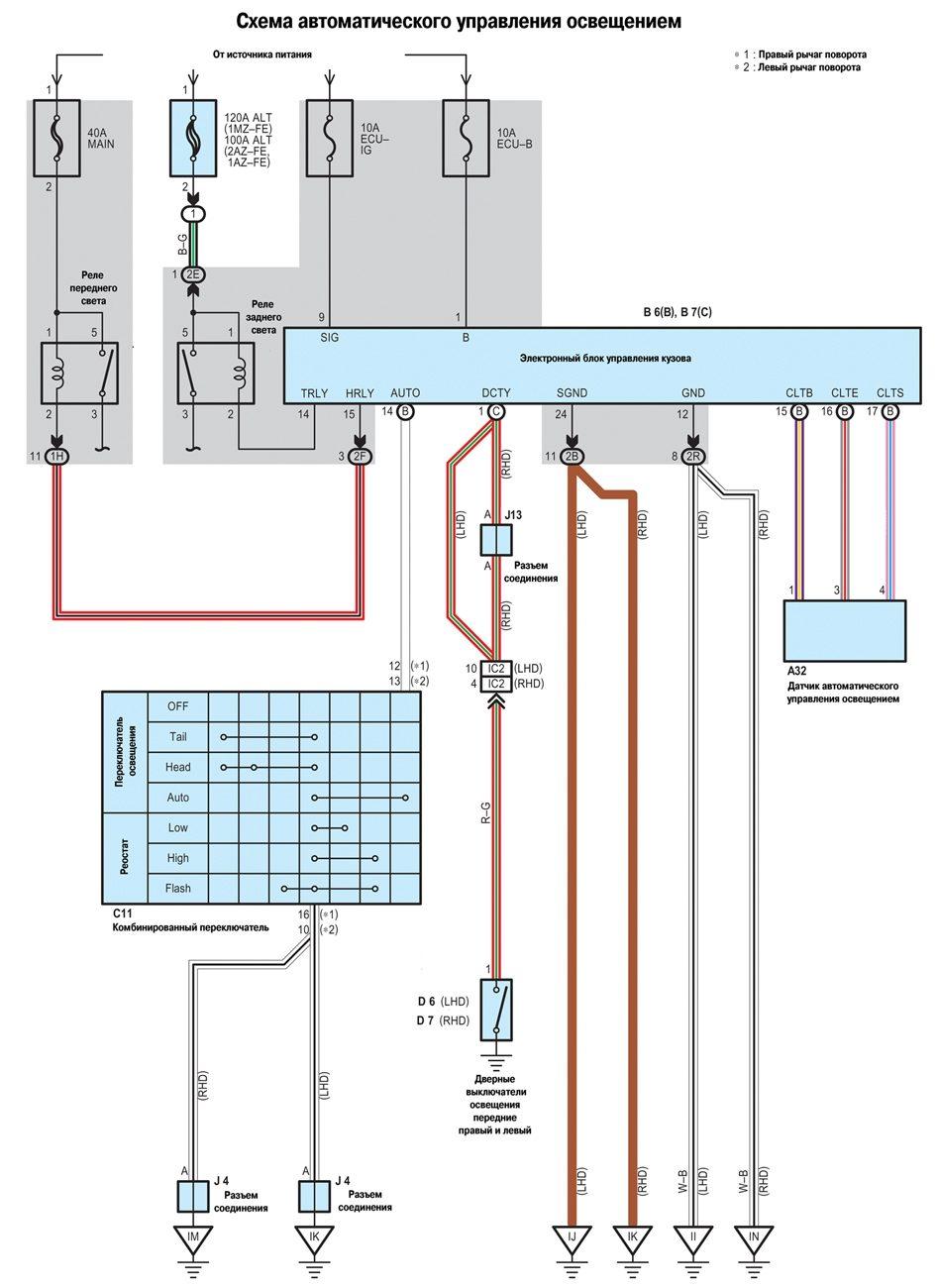 Toyota Camry (Тойота Камри) 2001-2005 года выпуска.  Cхема электрическая принципиальная АВТОМАТИЧЕСКОГО УПРАВЛЕНИЯ...