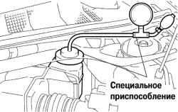 Присоединение специального приспособлениия к модулятору давления для прокачки