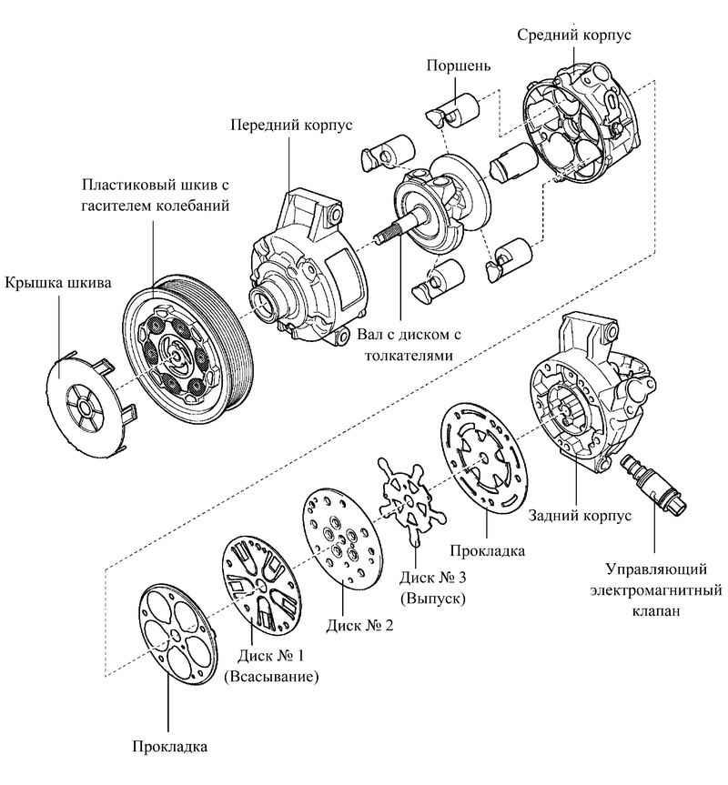 Вот взрывная схема компрессора