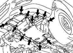 Крепление нижнего левого щитка двигателя в сборе