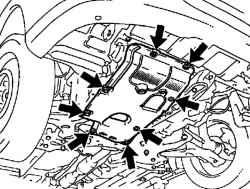 Крепление нижнего щитка двигателя №1