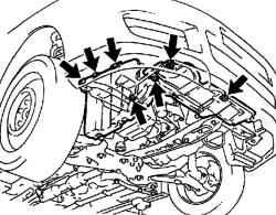 Крепление нижнего правого щитка двигателя