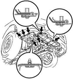 Схема установки нижнего правого щитка двигателя