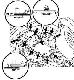 Схема установки нижнего левого щитка двигателя в сборе