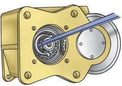 Снятие стопоpного кольца ступицы синхpонизатоpа