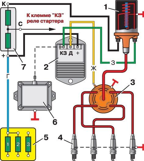 Схема бесконтактной системы зажигания: 1 - катушка зажигания; 2 - тpанзистоpный коммутатоp; 3-датчик-pаспpеделитель...