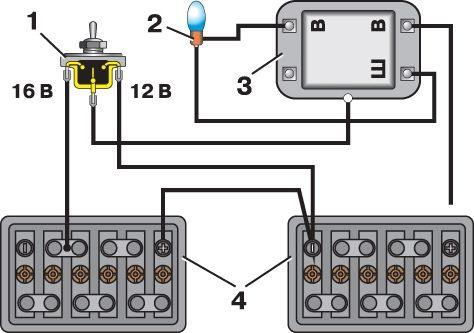 Схема проверки регулятора напряжения: 1 - переключатель; 2 - лампа; 3 - регулятор напряжения; 4 - аккумуляторная...