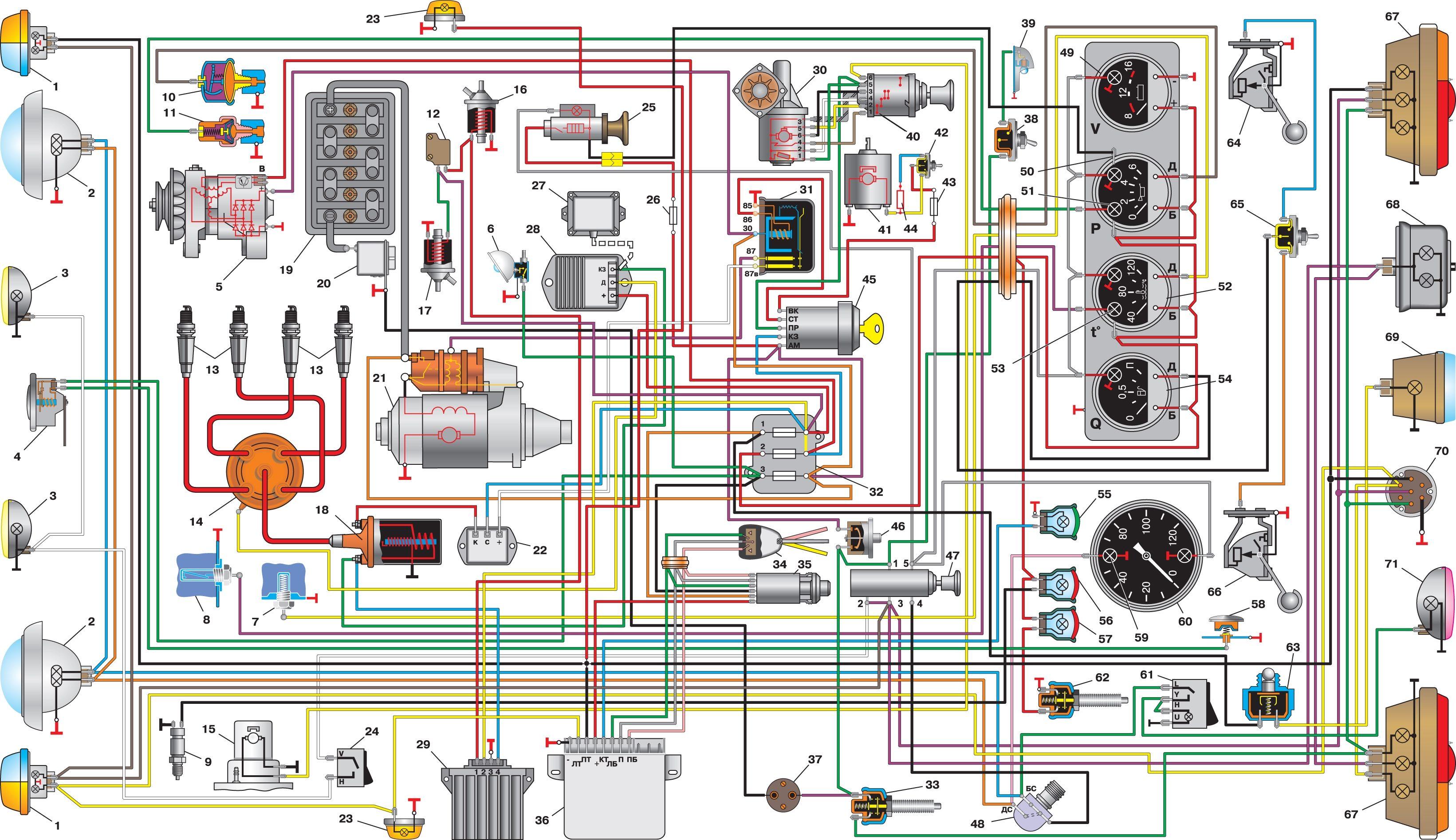 схема электропроводки поворотов уаз 469