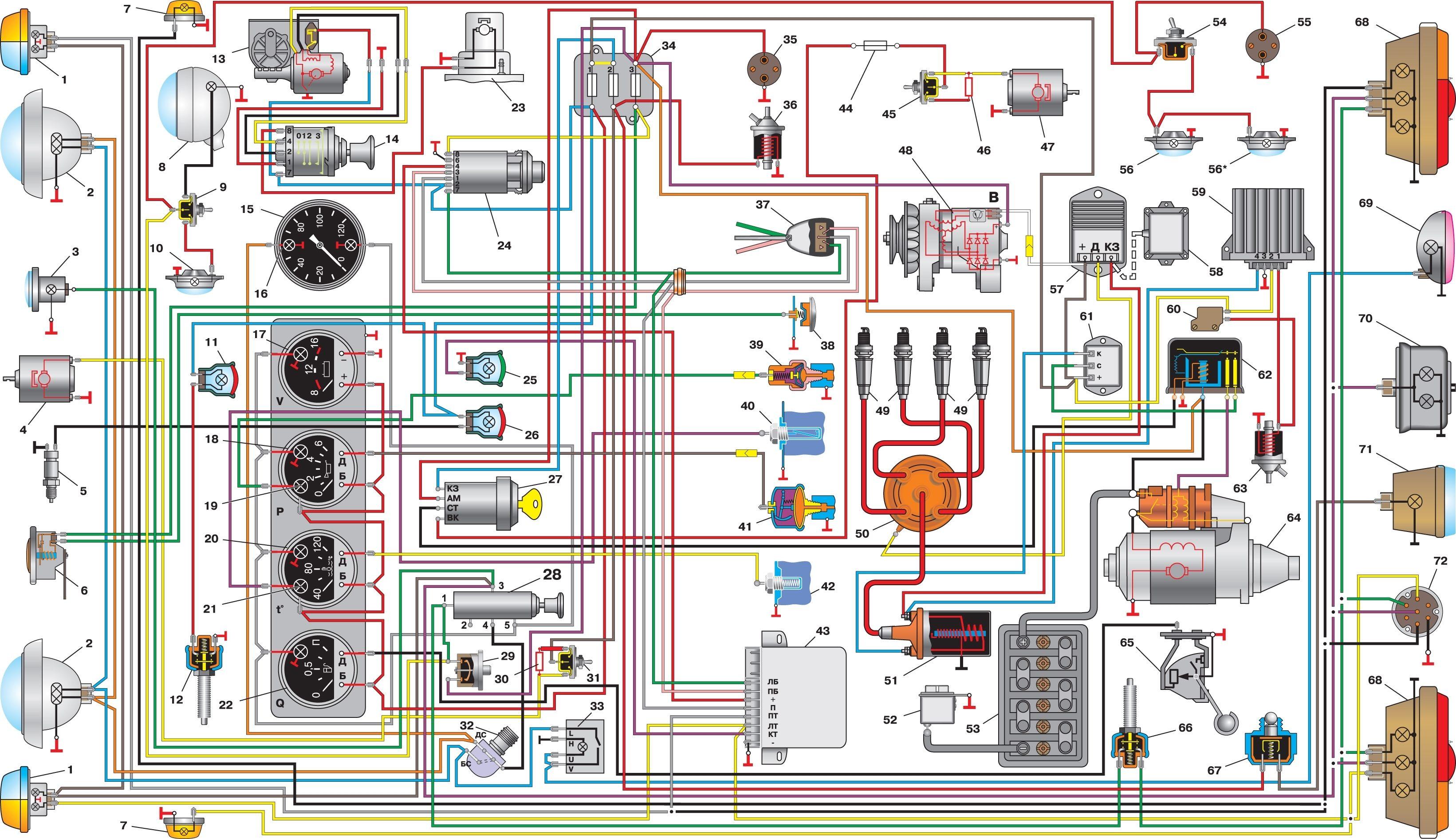 УАЗ3303 Схема электрооборудования.