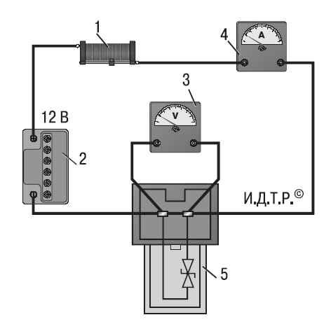 Электрическая схема проверки датчика температуры: 1 - переменное сопротивление 10 кОм; 2 - аккумуляторная батарея; 3...