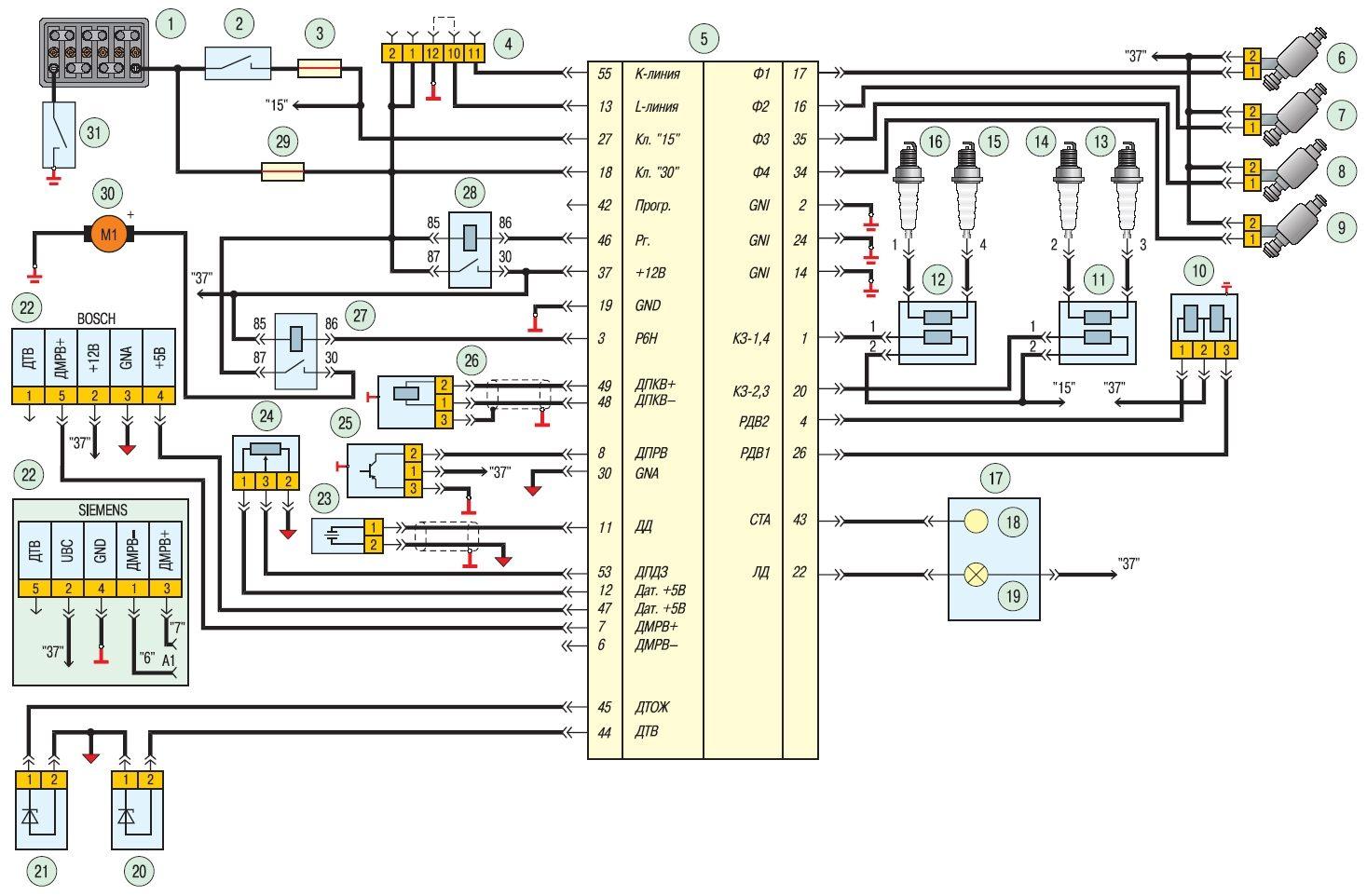 Схема электронного блока управления двигателем фото 334