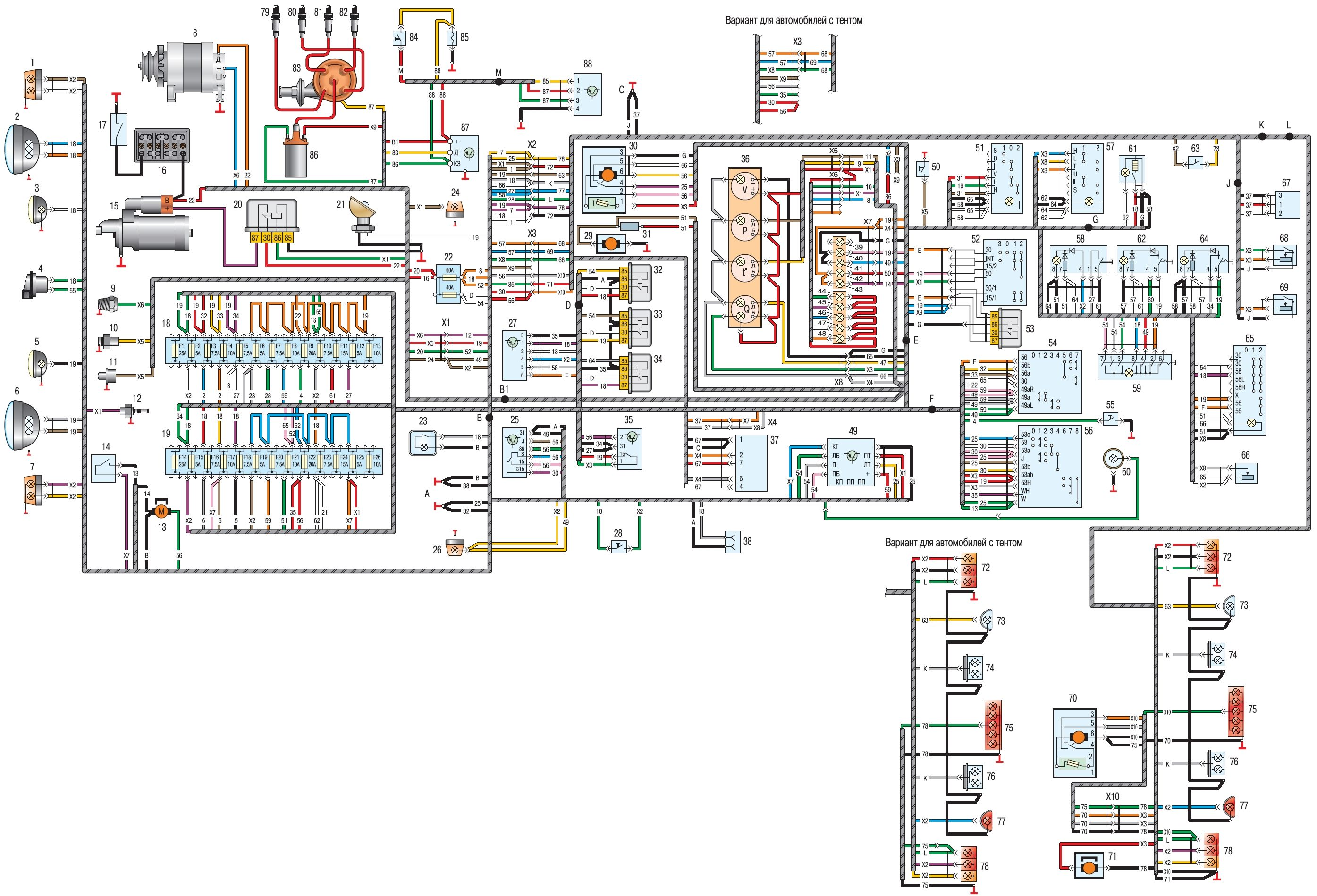 Электрооборудование уаз схема