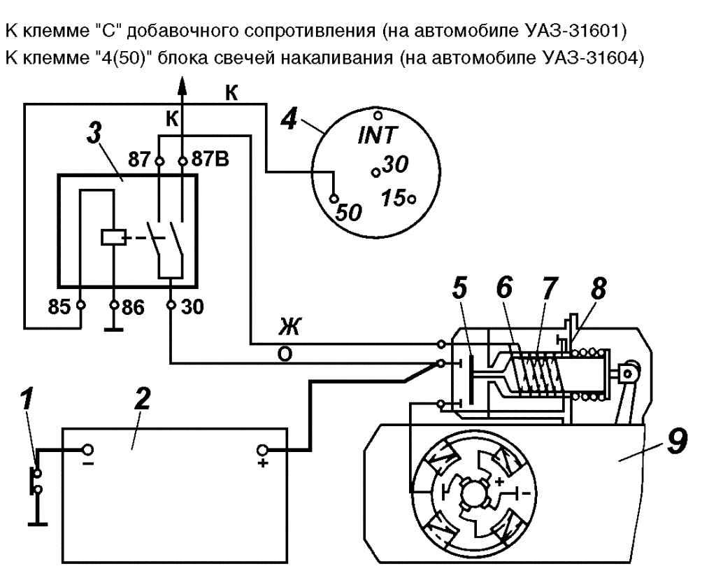 """1 - выключатель  """"массы """"; 2 - аккумулятоpная батаpея; 3 - дополнительное pеле стаpтеpа; 4 - выключатель зажигания; 5..."""