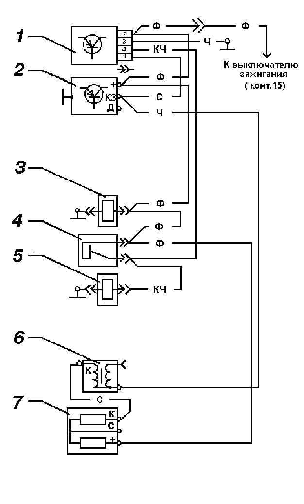 Схема соединений системы управления экономайзером принудительного холостого хода: 1 - блок управления; 2 - коммутатор...