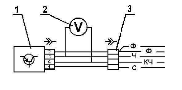 Подключите к блоку ЭПХХ вольтметр с помощью специального переходного жгута 2.