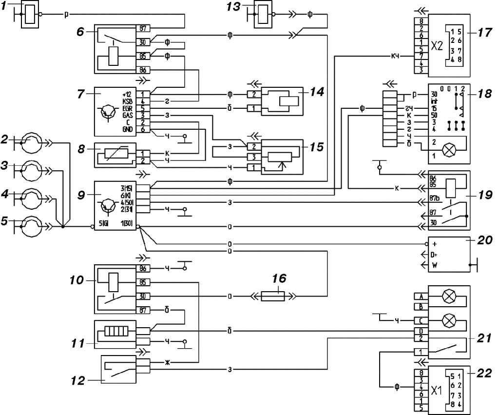 Электрическая схема систем управления двигателем VM 425 LTRU: 1 - cоленоид системы прогрева холодного двигателя; 2, 3...
