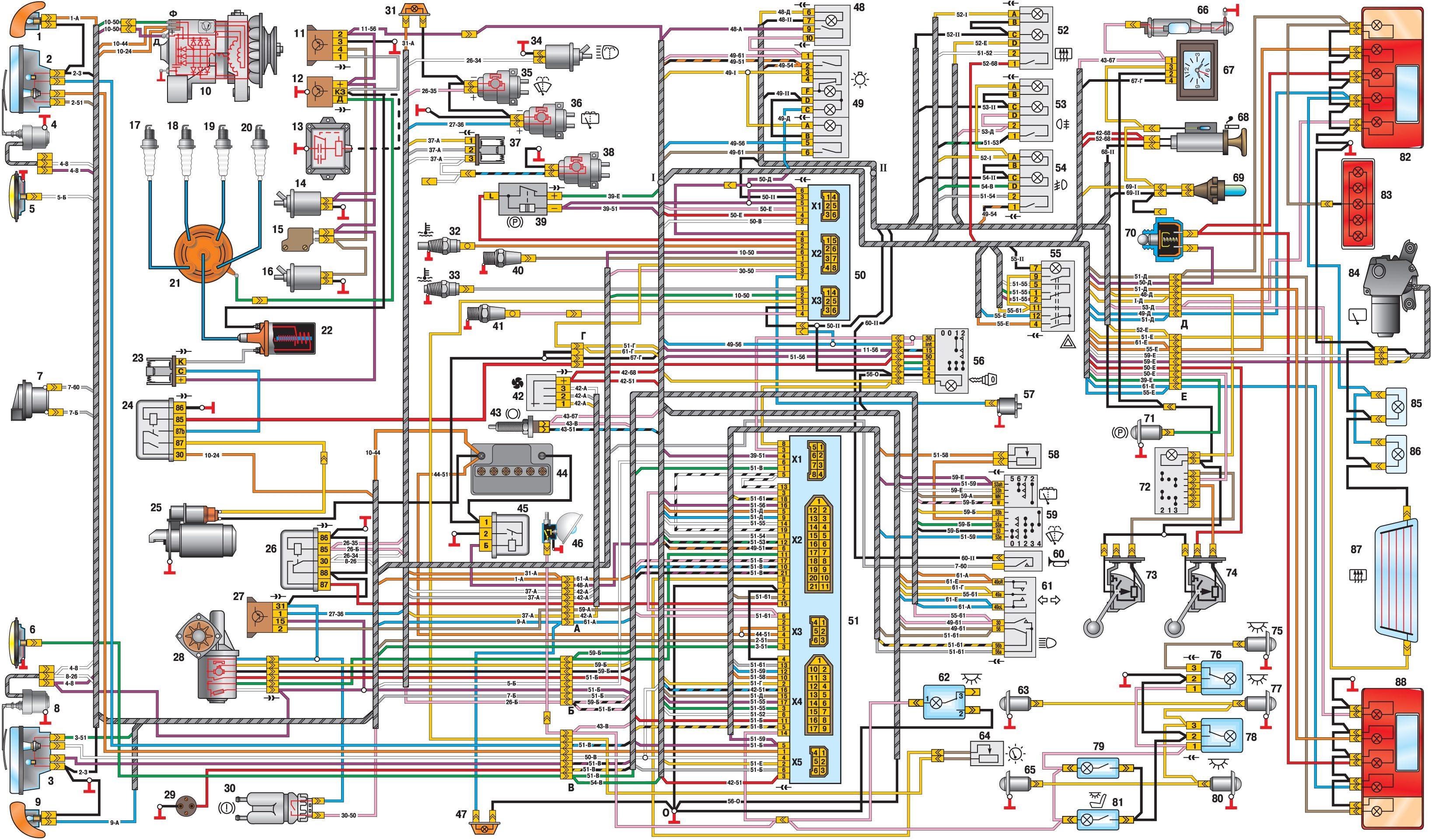Схема электрооборудования автомобиля УАЗ–31601.