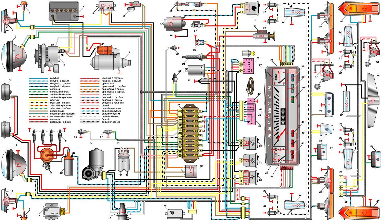 Принципипиальная схема двигателя ваз2101.