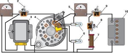 схема проверки реле регулятора генератора - Практическая схемотехника.