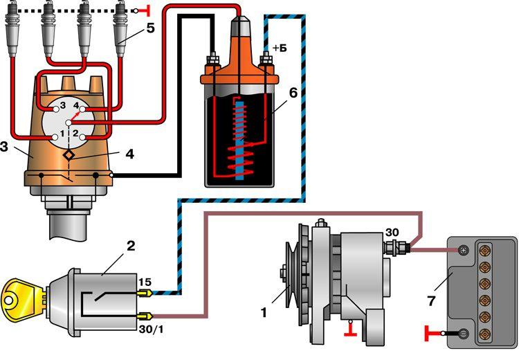 Версия для печати 12 11 схема контактной системы зажигания двигателя мод 2106 схема Представлена конструктивная схема...