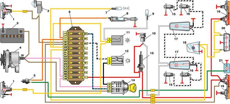 Электрическая схема ваз 2101 схему автомобиля компании авто ваз модели ваз 2101.