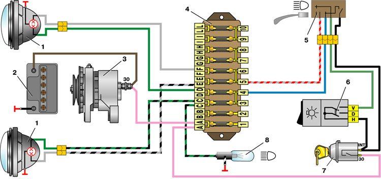 Принципиальная электрическая схема автомобилей ВАЗ-2110.