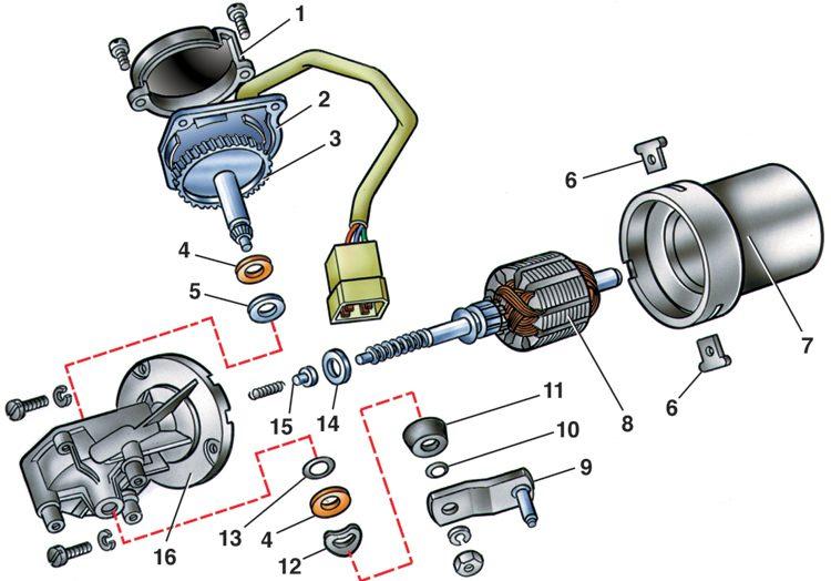 Схема мотор-редуктора стеклоочистителя