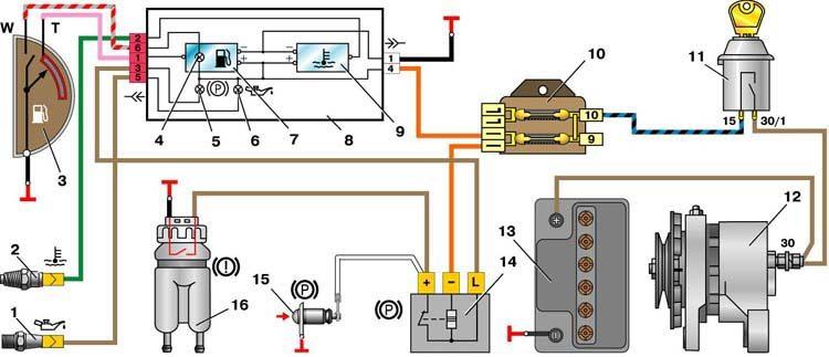 1 – датчик контрольной лампы