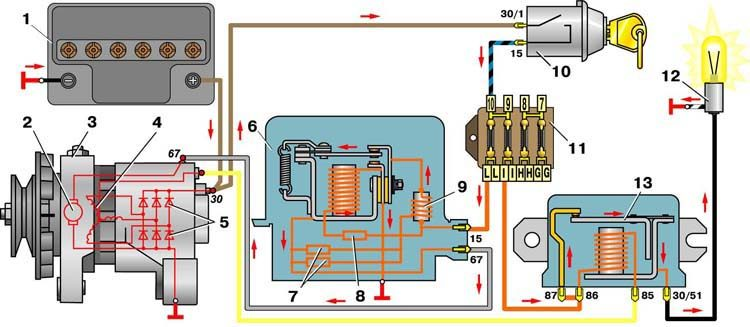 Ремень генератора натянут.  Генератор родной.  Вот схема зарядки.