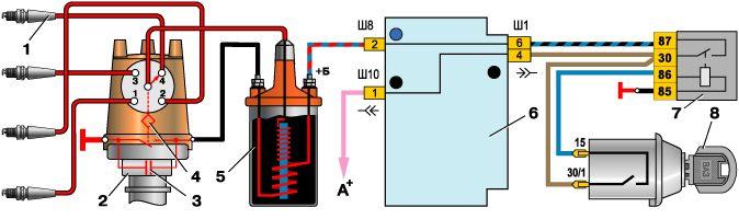 Устанавливаемый электронный коммутатор замыкает или размыкает цепь за счет отпирания или.