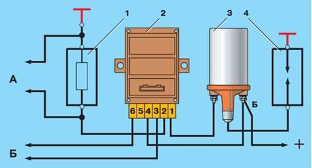 Схема для проверки коммутатора: 1 - резистор 0,01 Ом=1%, не менее 20 Вт; 2 - коммутатор; 3 - катушка зажигания; 4...