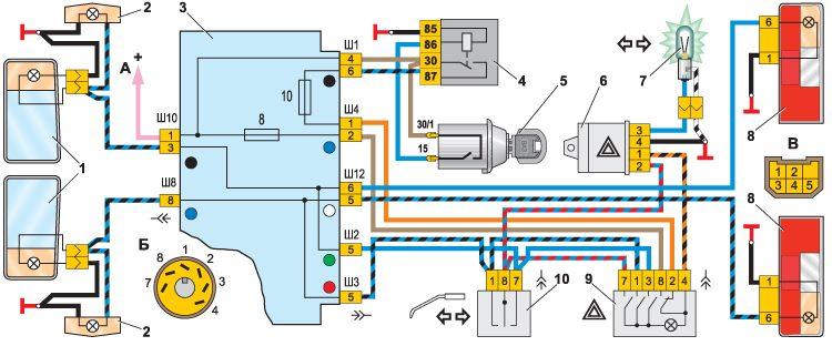 схема подключения реле поворотов и аварийной сигнализации 71.3777