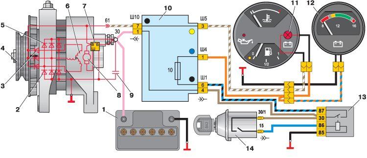 11 – контрольная лампа заряда