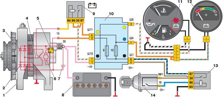 Ваз 2101 электро схема.  Схема импульса при включении.
