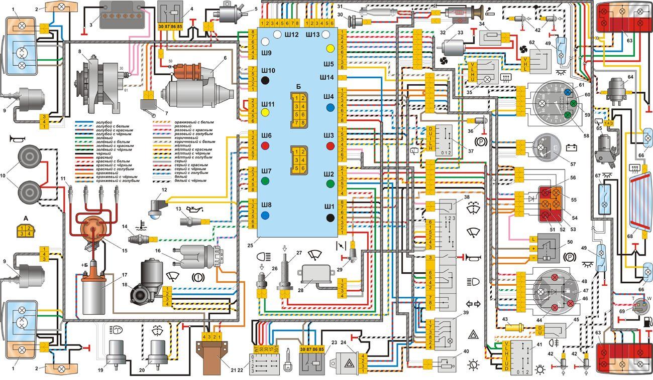 Схема электрооборудования автомобиля ВАЗ-2104/b.