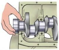 Цилиндры двигателя ваз...  Уложите в гнездо среднего подшипника и в его крышку - вкладыши без канавки на внутренней...