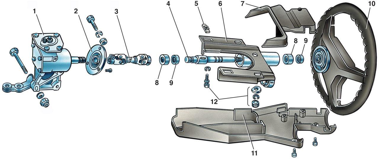 40 Рулевой механизм Ваз 2107 3 Снятие.  Отсоедините провода от аккумуляторной батареи и снимите облицовку выключателя...