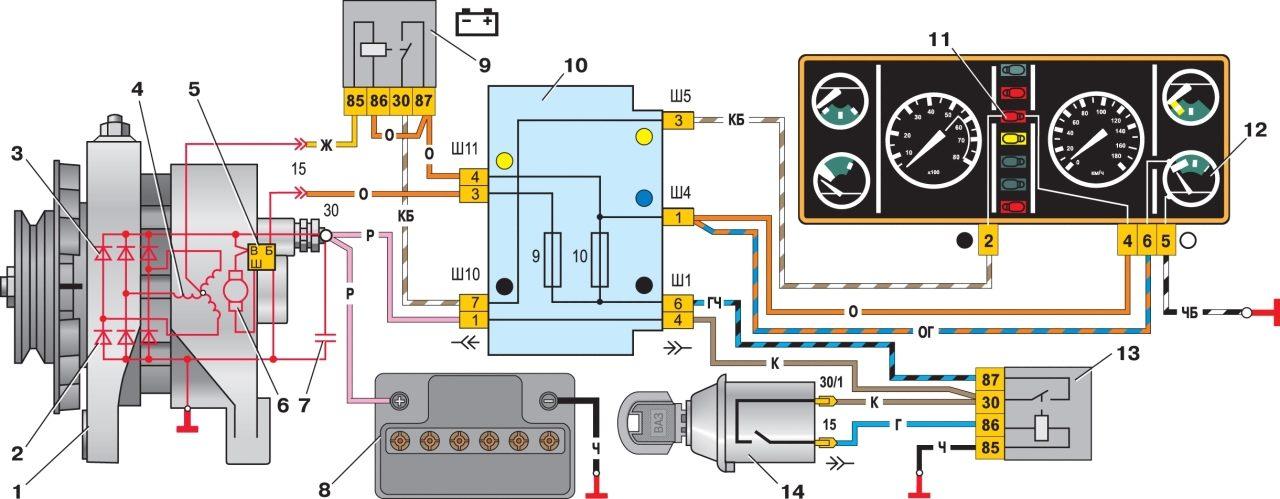 Ваз 2105 електро схема генератора с регулятором напряжения вымпел.