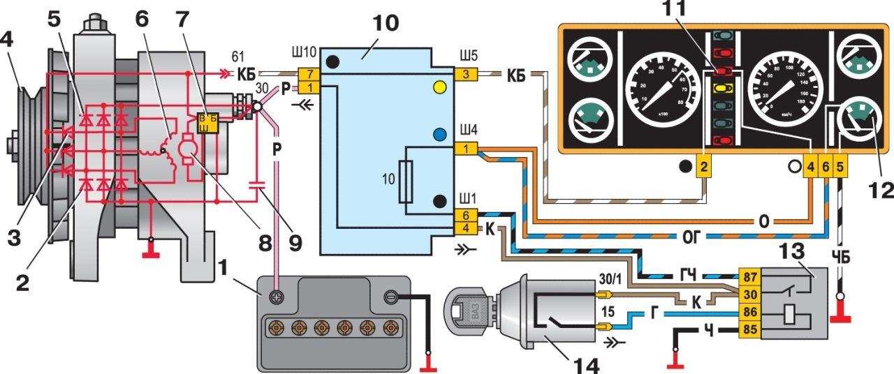 На автомобиле ваз 2107 установлен генератор переменного тока модели 372.3701. схема электрических соединений...